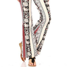 Load image into Gallery viewer, Amore Jewell Fashion Ladies' Pants - Soft Printed Brushed Flare Pants With Waist Tie