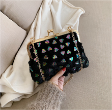 Load image into Gallery viewer, Fashion Ladies' bag - Elegant chain clamp bag paillette ladies evening bag in Black Color