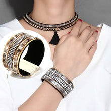 Load image into Gallery viewer, Bracelet - Modern and Fashion design in PU + Alloy material with shiny rhinestones.