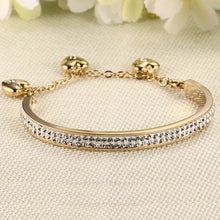 Load image into Gallery viewer, Bracelet - Elegant 3-hearts  design with shiny rhinestones