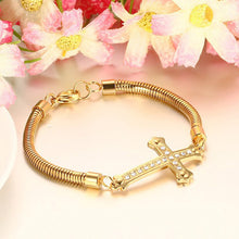 Load image into Gallery viewer, Bracelet - Elegant Cross  design with shiny rhinestones