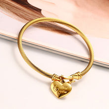 "Load image into Gallery viewer, Bracelet - Elegant bracelet  ""Heart shape with I Love you "" design in gold color"