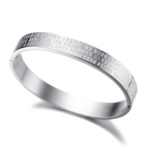 "Load image into Gallery viewer, Bracelet - Elegant bracelet with ""The Heart Sutra"" in steel color"