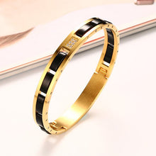 Load image into Gallery viewer, Bracelet - Modern design stainless steel with IP gold plating  with AAA cubic zirconia & black ceramic