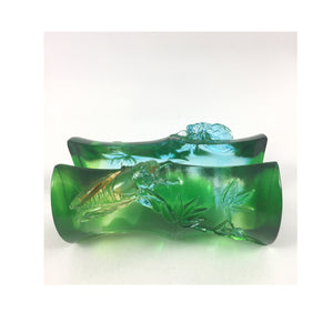"Amore Jewell Liuli Crystal Glass - Stepping up ""Bamboo"" -- business card holder ~ 節節高升"