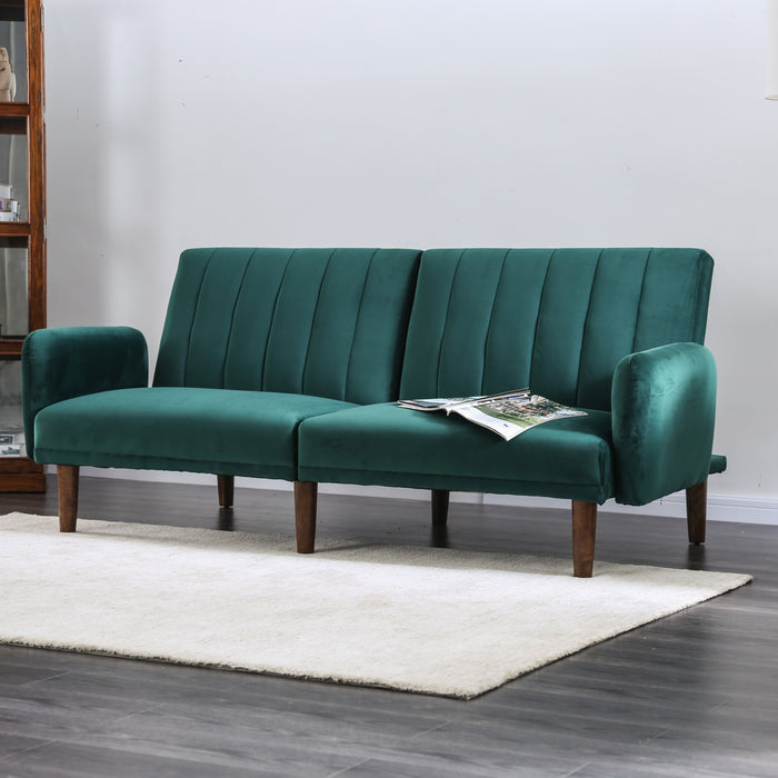 small-space-sofa-Mid-century-Modern-Split-Back-Futon-sofa-shack-emerald-green