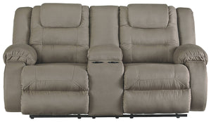 Signature Design Mccade Fabric Solid Contemporary Dbl Recliner Loveseat with Console