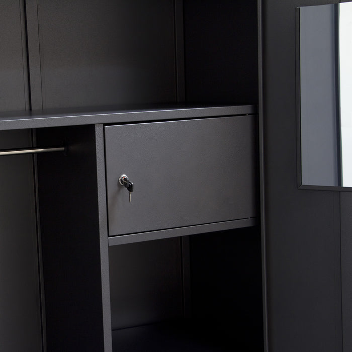 2 Door Metal Closet With Safe And Mirror With Key Lock Entry