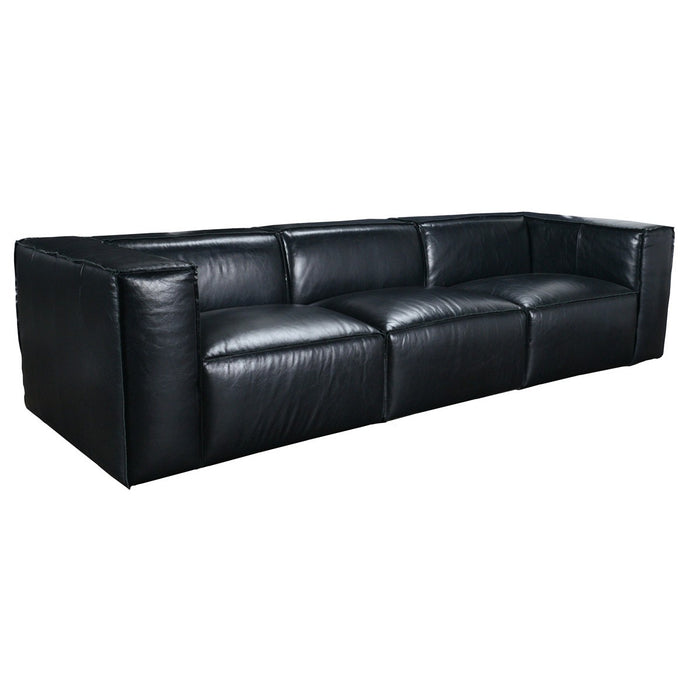 Jonathan Leather Black 3 Seater Sofa — Sofa Shack