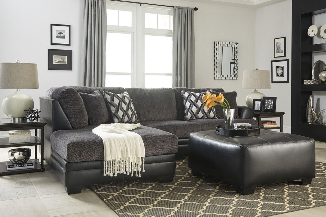 Kumasi right facing sectional with chaise gray grey leather fabric sofa couch