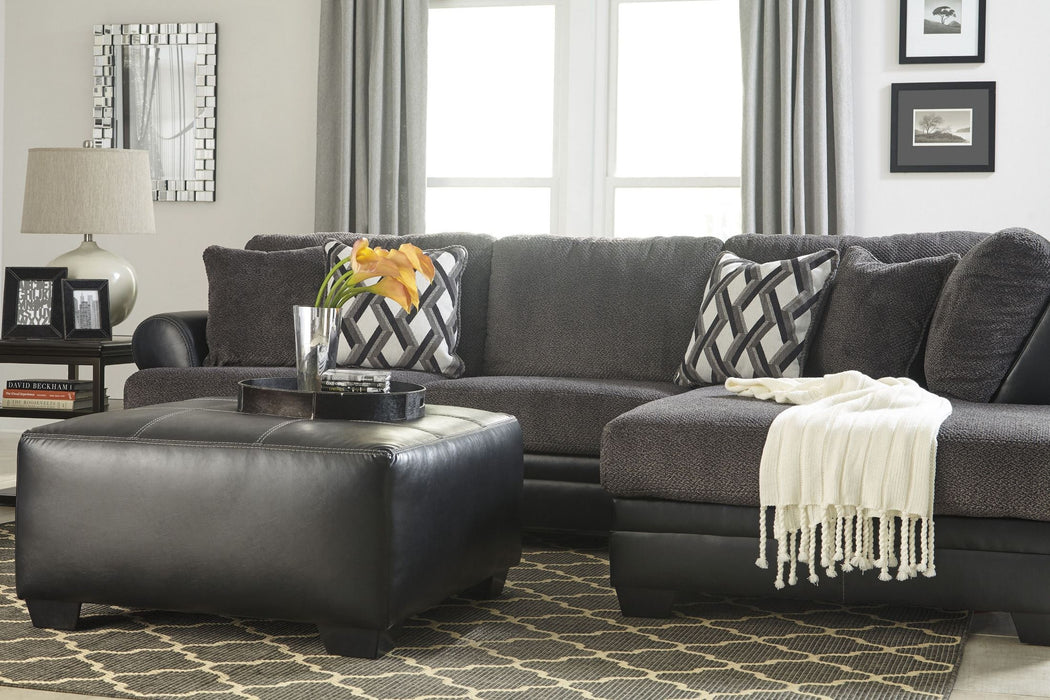 Kumasi left facing sectional with chaise gray grey leather fabric sofa couch