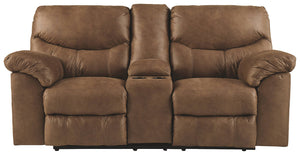 Signature Design Boxberg Fabric Solid Contemporary Dbl Recliner Loveseat with Console