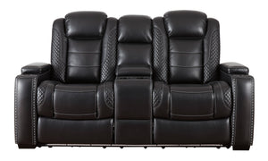 Signature Design Party Time Microfiber Solid Contemporary Power Recliner Loveseat Console Adjuster Headrest