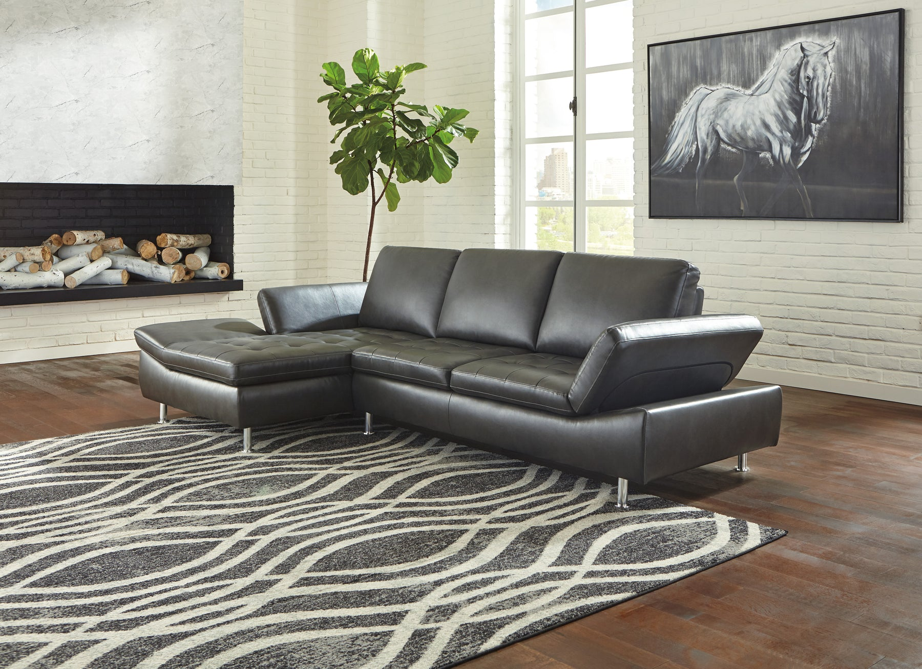 Signature Design Carrnew Fabric Solid Contemporary LAF Corner Chaise