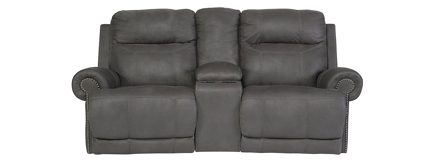 Signature Design Austere  Microfiber Solid Contemporary Dbl Recliner Loveseat with Console