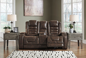 Signature Design Game Zone Microfiber Solid Contemporary Power Recliner Loveseat Console Adjuster Headrest