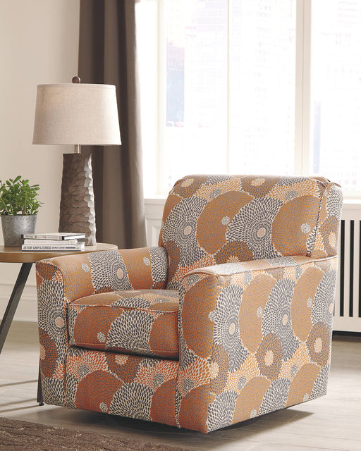 Signature Design Benissa Fabric Floral Contemporary Swivel Accent Chair
