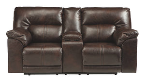 Benchcraft Barrettsville Microfiber Solid Contemporary Dbl Recliner Power Loveseat with Console