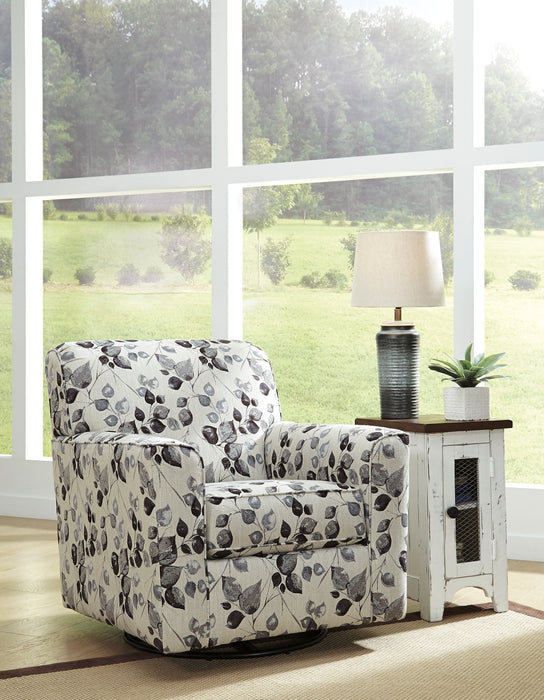 Benchcraft Abney Fabric Floral Contemporary Swivel Accent Chair