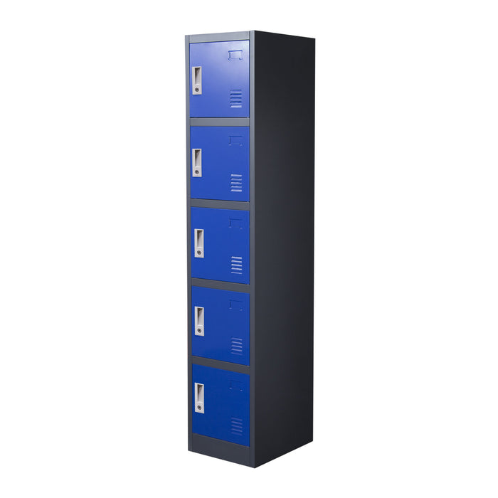 5 Door Metal Storage Locker Cabinet With Key Lock Entry