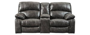 Signature Design Dunwell Fabric Solid Contemporary Power Recliner Loveseat Console Adjuster Headrest