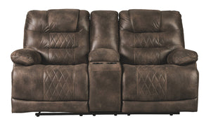 Signature Design Welsford Fabric Solid Contemporary Power Recliner Loveseat Console Adjuster Headrest