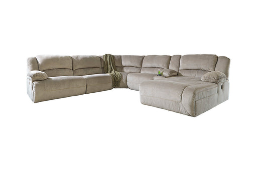 Signature Design Toletta Fabric 6-Piece Contemporary Sectional With Raf Chaise And Power Recliner