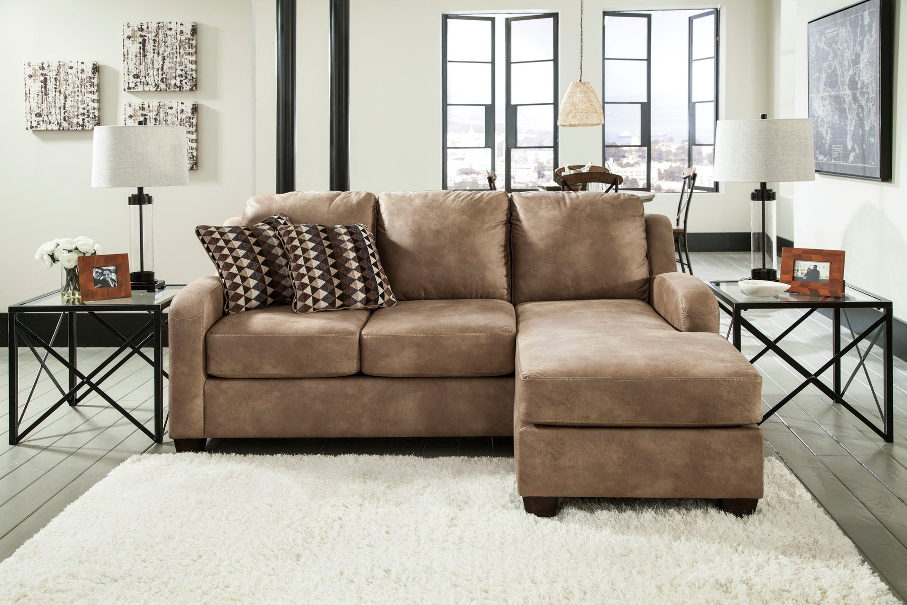 Benchcraft Alturo Solid Fabric Contemporary Sofa Chaise