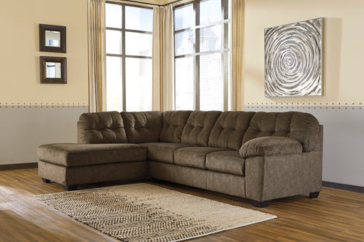 Signature Design Accrington Fabric Solid 2-Piece Sectional With Laf Chaise And Sleeper