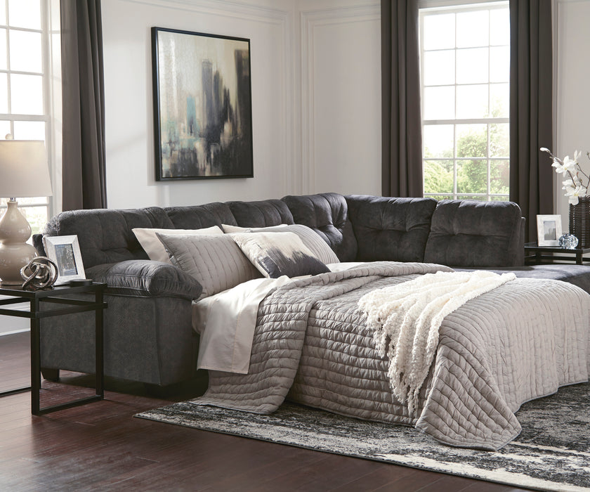 Signature Design Accrington Fabric Solid 2-Piece Sectional With Raf Chaise And Sleeper