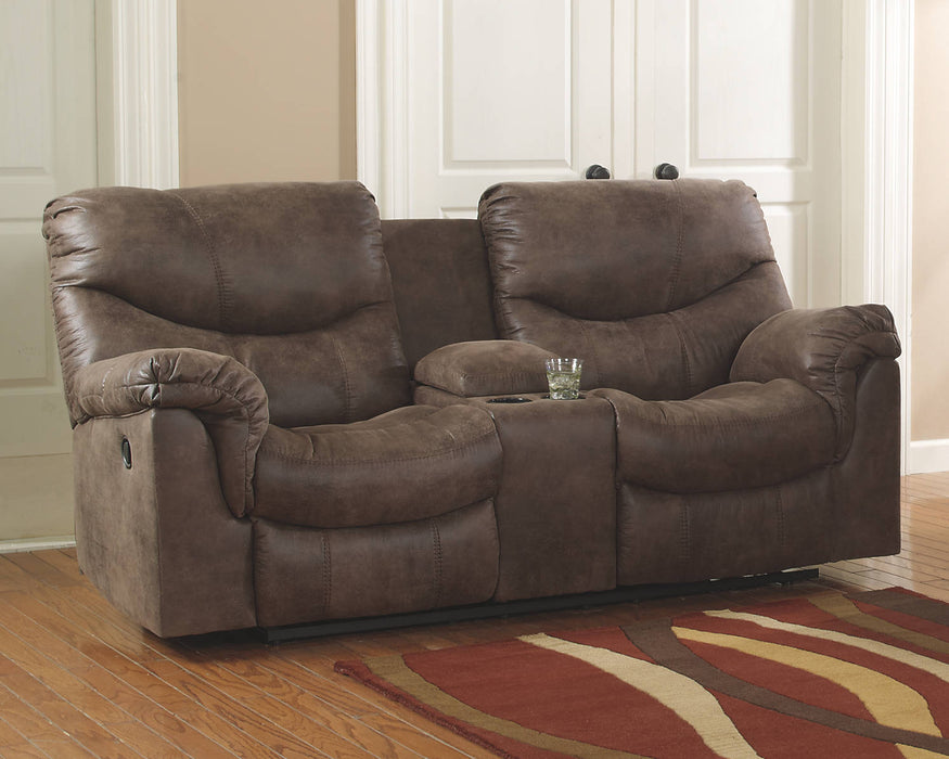 Signature Design Alzena Microfiber Solid Contemporary Dbl Recliner Loveseat with Console