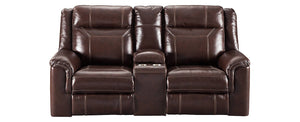 Signature Design Wyline Leather Solid Contemporary Power Recliner Loveseat Console Adjuster Headrest