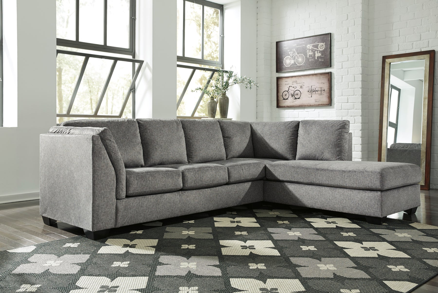 Benchcraft Belcastel Fabric Solid 2-Piece Sectional With Raf Chaise And Sleeper