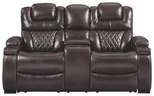 Signature Design Warnerton Fabric Solid Contemporary Power Recliner Loveseat Console Adjuster Headrest