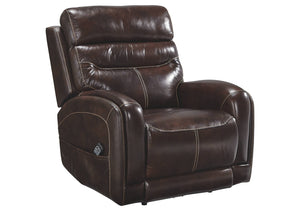 Signature Design Ailor Leather Solid Contemporary Power Recliner Adjuster Headrest