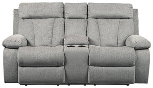 Signature Design Mitchiner Fabric Solid Contemporary Dbl Recliner Loveseat with Console