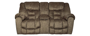 Signature Design Capehorn Fabric Solid Contemporary Dbl Recliner Loveseat with Console