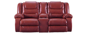 Signature Design Vacherie Fabric Solid Contemporary Dbl Recliner Loveseat with Console