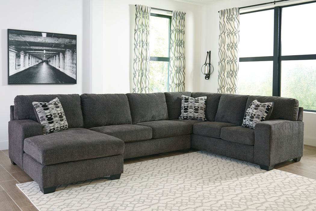 Signature Design Ballinasloe Fabric Solid 3-Piece Sectional With Laf Chaise