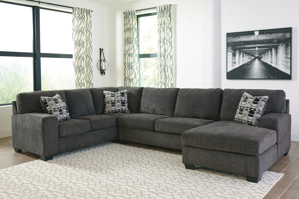 Signature Design Ballinasloe Fabric Solid 3-Piece Sectional With Raf Chaise