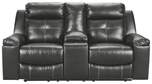 Signature Design Kempten Fabric Solid Contemporary Dbl Recliner Loveseat with Console