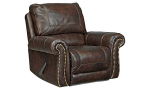 Signature Design Bristan Leather Solid Traditional Rocker Recliner