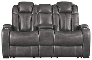 Signature Design Turbulance Microfiber Solid Contemporary Power Recliner Loveseat Console Adjuster Headrest