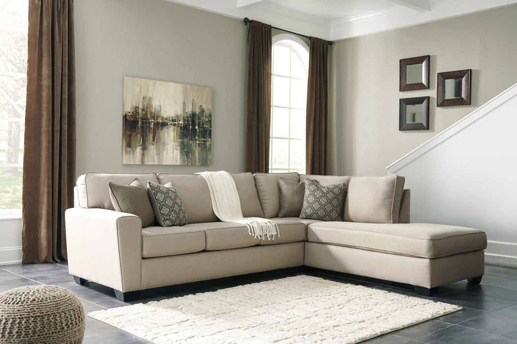 Benchcraft Calicho Fabric Solid 2-Piece Sectional With Raf Chaise