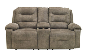 Signature Design Rotation Fabric Solid Contemporary Dbl Recliner Power Loveseat with Console