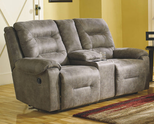Signature Design Rotation Fabric Solid Contemporary Dbl Recliner Loveseat with Console