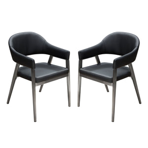 Adele Two Dining Accent Chairs in Black Leatherette with Brushed Stainless Steel Leg Set - Black