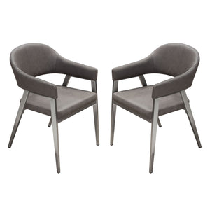 Adele Two Dining Accent Chairs in Grey Leatherette with Brushed Stainless Steel Leg Set - Grey