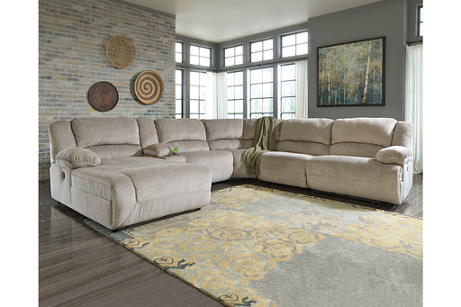 Signature Design Toletta Fabric 6-Piece Contemporary Sectional With Laf Chaise And Power Recliner