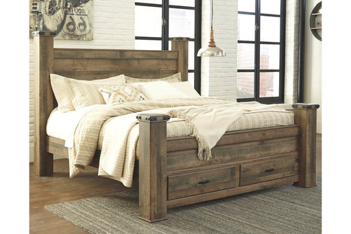 Signature Design Trinell Wood Casual Poster Bed With Storage